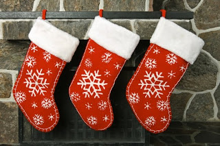 Red Christmas Stockings Fireplace