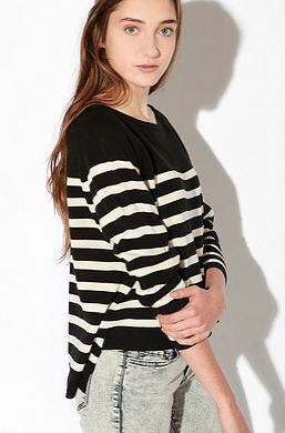 So, Im sharing my new purchase from a late night trip to Urbanthis cropped black  white stripe sweater thats longer in the back.