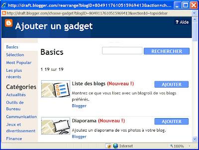 gadget dans blogger