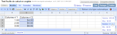 Google Document et Tableur