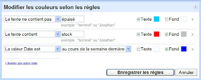 formatage conditionnel dans google tableur