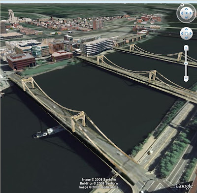 Pittsburgh en 3d dans Google Earth