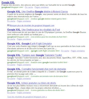 Liens de site dans Google