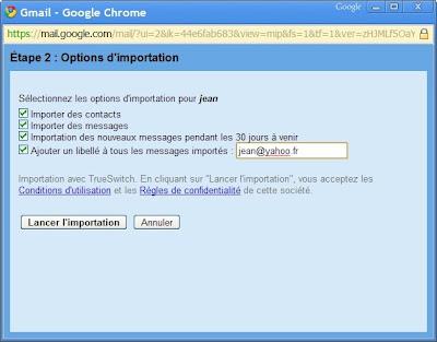 Gmail : importer des comptes de messagerie et des liste de contacts
