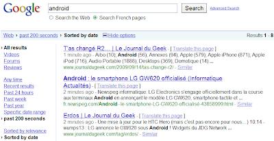 Recherche en temps réel dans Google