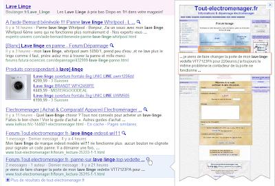 Prévisualisation des résultats dans Google