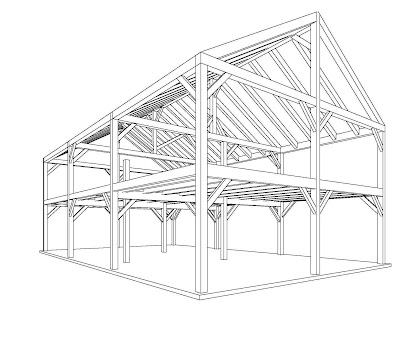 Beautiful heavy timber construction by vermont timber for Post and beam shop plans