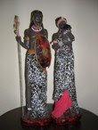 Casal Africano da Tribo Massai - SOB ENCOMENDA - Altura: 55 Cm