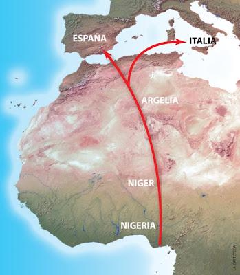 Mapa del Gasoducto Transhariano