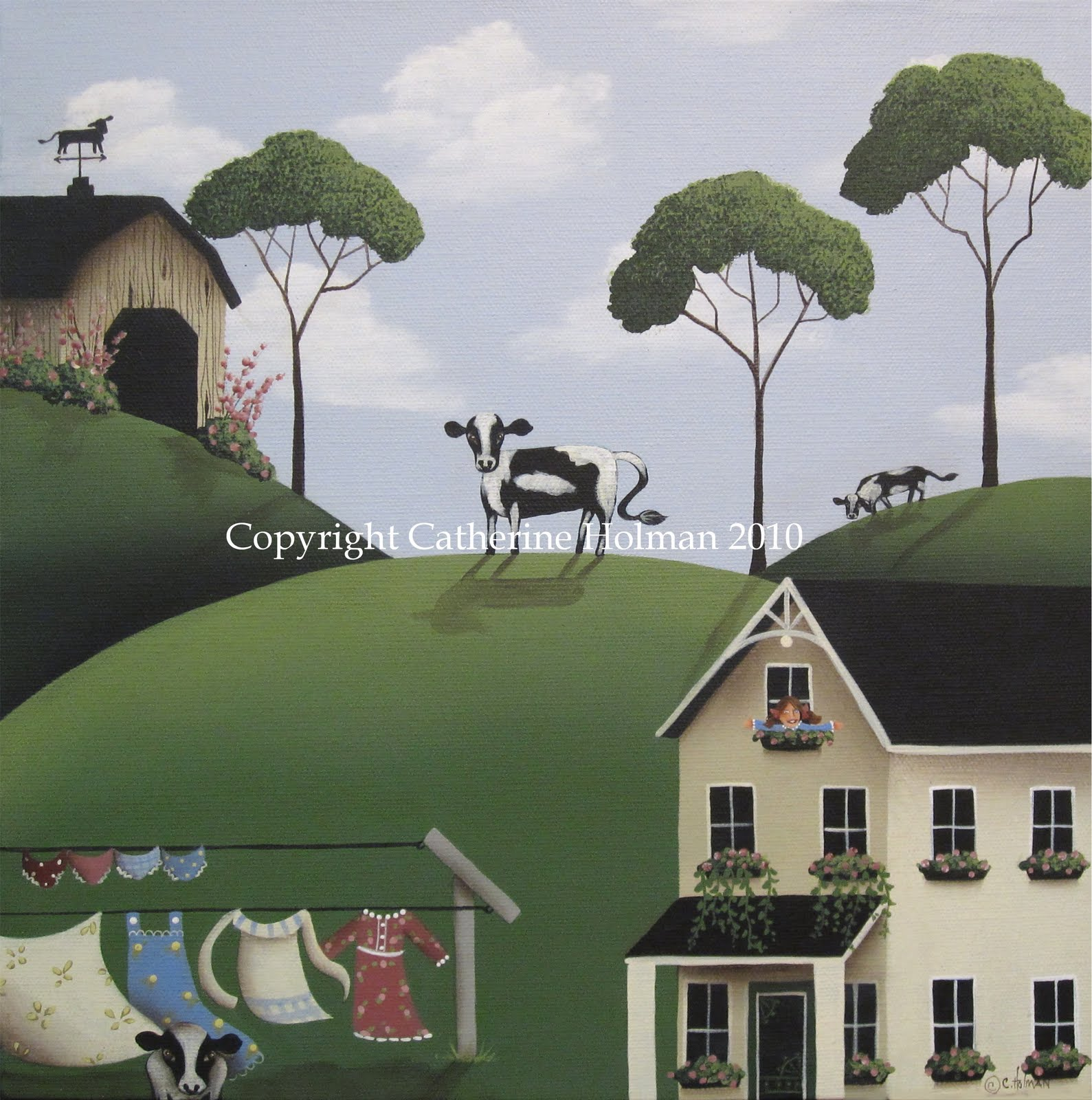 three folk art farm scenes