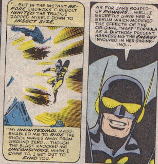 'Hey kids, Yellowjacket here!  What makes the least sense in these two panels?'