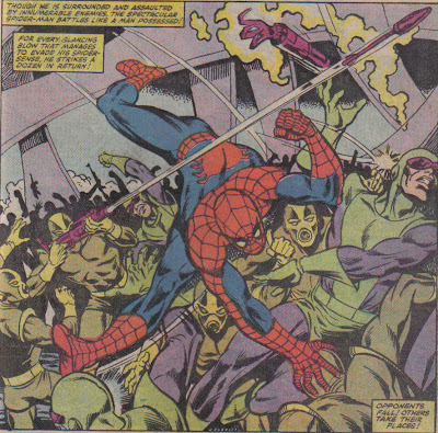Is Spidey's leg completely overextended there?  Or just drawn kinda crappily?  Eh, I still like this one.