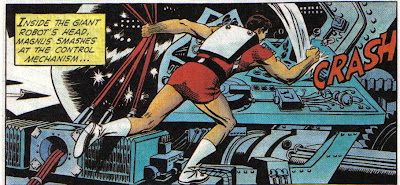 Figure 3-B: Magnus smashes the hell out of a giant robot's brain.