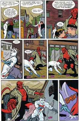 I don't know if we ever see Hellboy giving out candy again, but I guess we don't see him not giving it out...