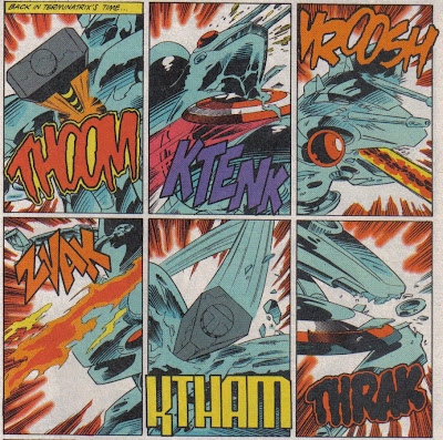 You can tell Thor's not bringing the heat, or his sound effect would cover four panels.