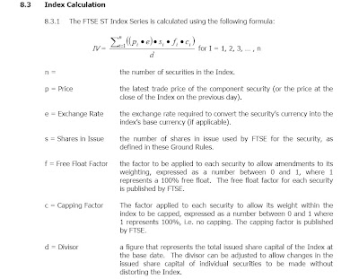 Formula for FTSE ST Index calculation