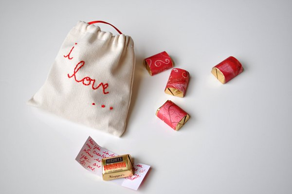DIY gift for your valentine chocolate wrapped in love notes letters