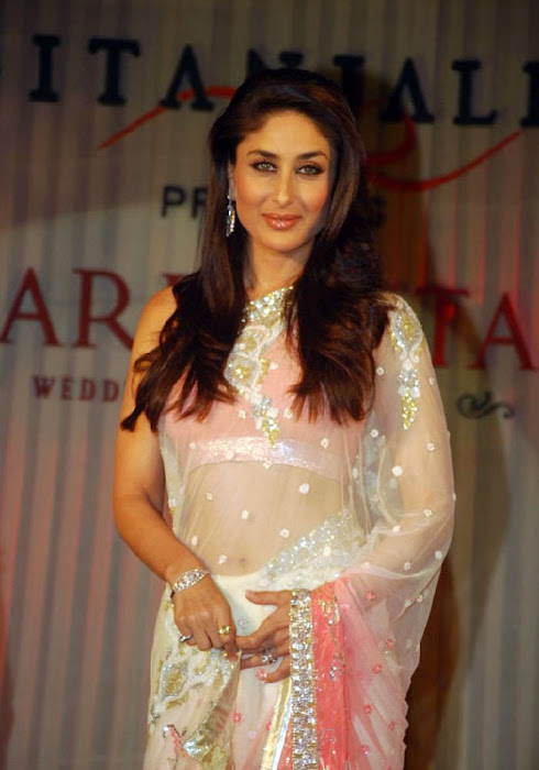 Kareen Kapoor in a Cream Transparent Chammak Challo Saree kareena kapoor actress pics