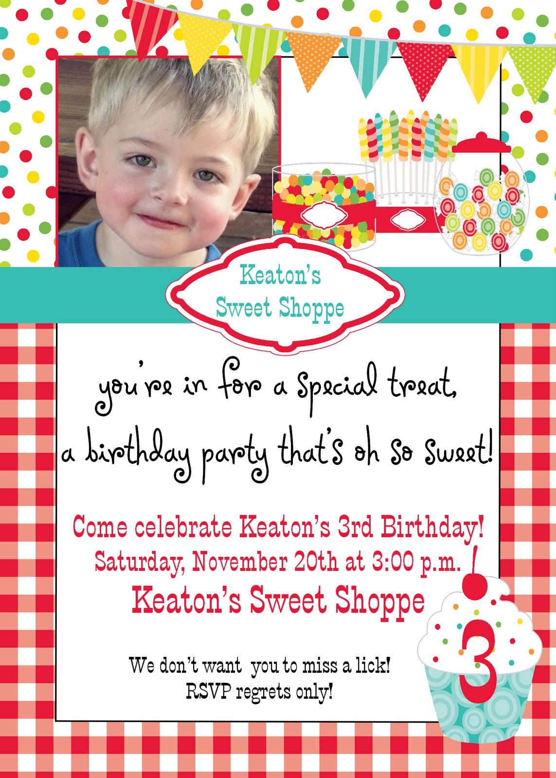 Birthday Couture: Keaton\'s Sweet Shoppe - 3 Years Old