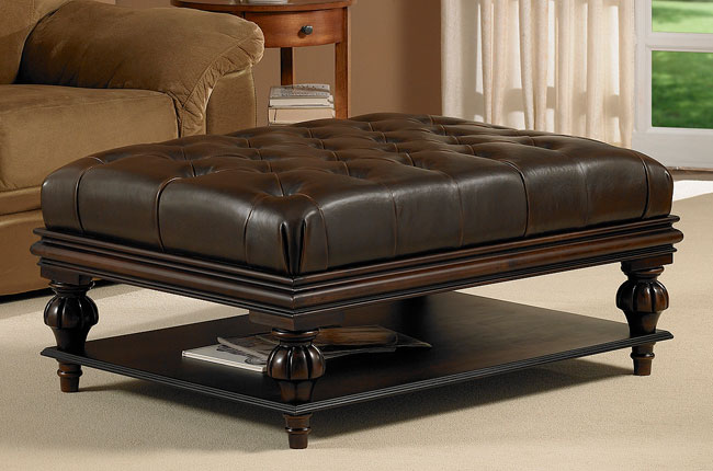 Maggieu0026#39;s Room: Tufted Dark Brown Leather Ottoman with Shelf