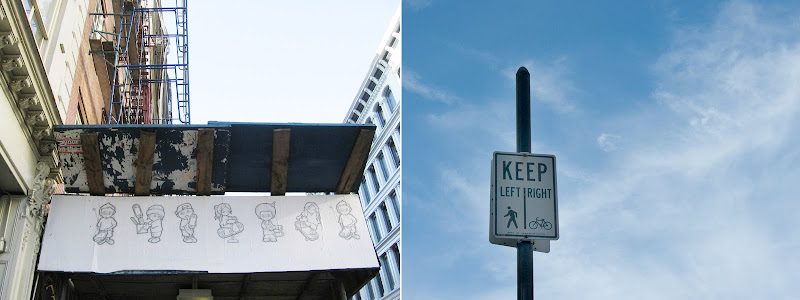 drawings and a bike, pedestrian sign