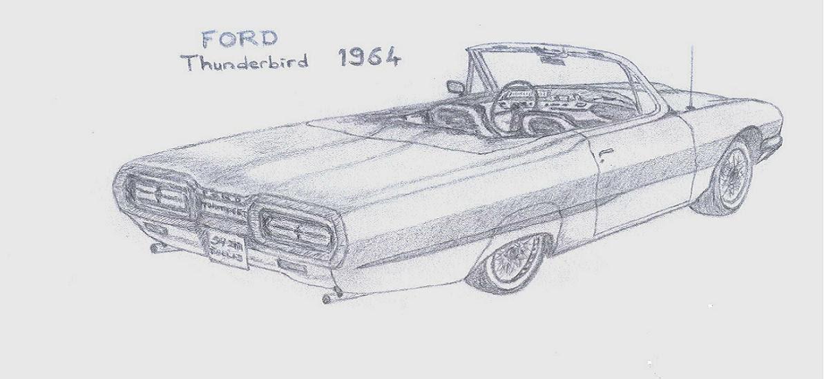 classiccars drawing  64 thunderbird