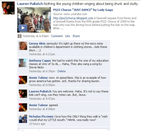 Screen capture of facebook comments about PS22 Choir
