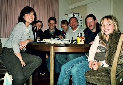 Flatmates Cathy, Nicola, Dave, me, cockney Neil, Tim downstairs and Jessica