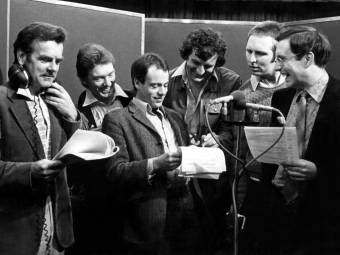The cast of the original radio series of The Hitchhiker's Guide To The Galaxy