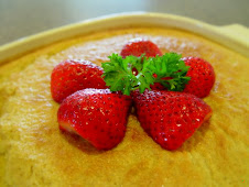 Corn Custard with Strawberries
