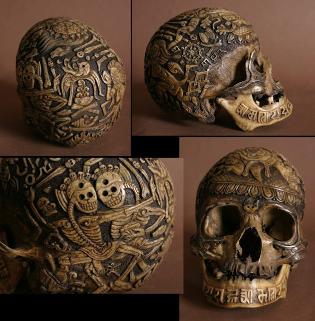 Dark dissolution carved skulls