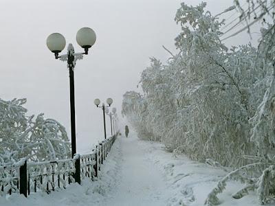 Снег в парке.