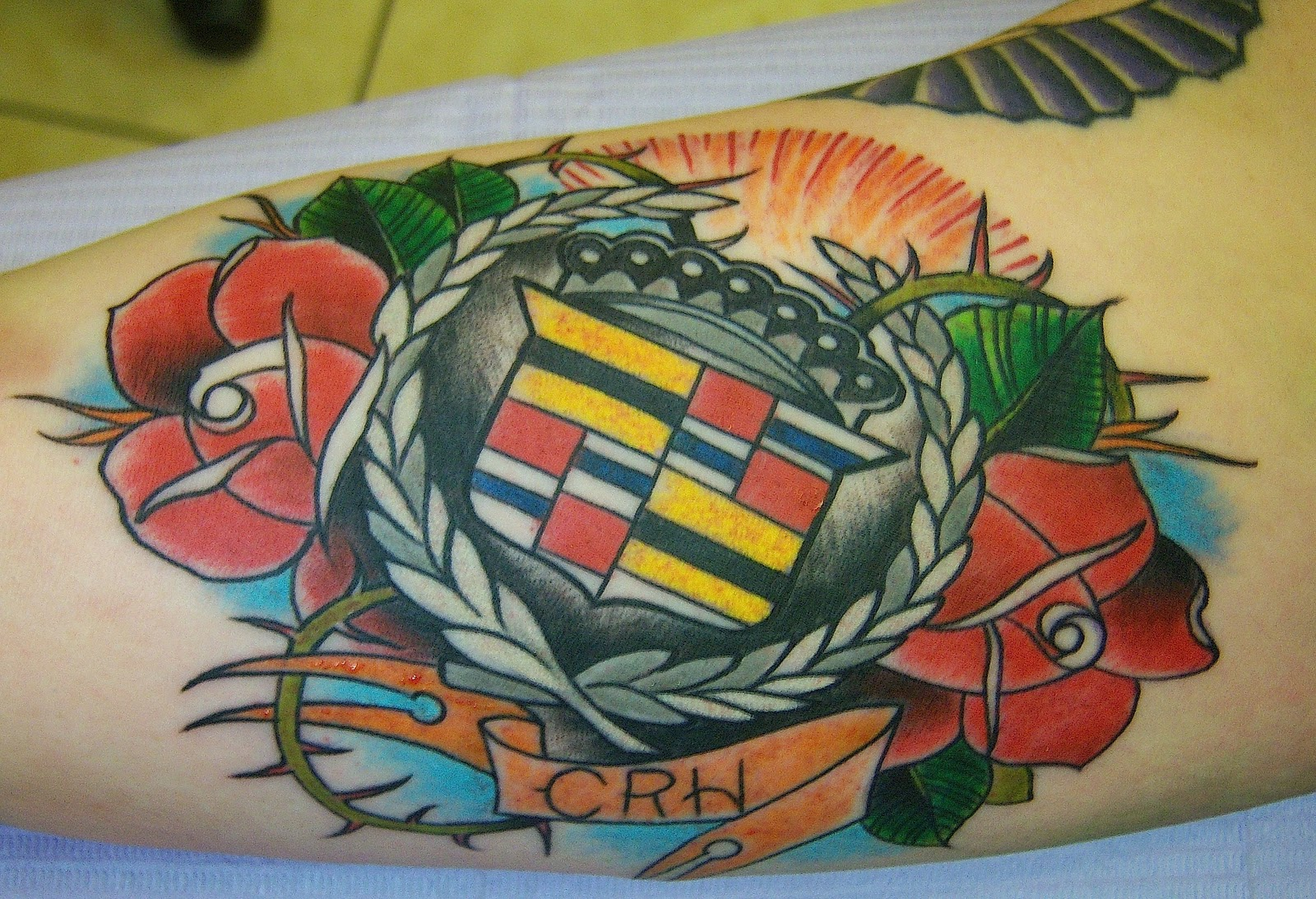 Cadillac Emblem Tattoo By Joey Vegas Downtown Tattoo