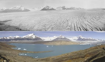 Upsala Glacier before and after