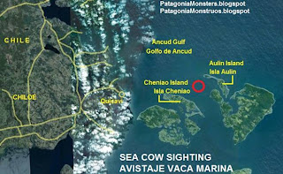 map of sea cow sightings at Chiloe