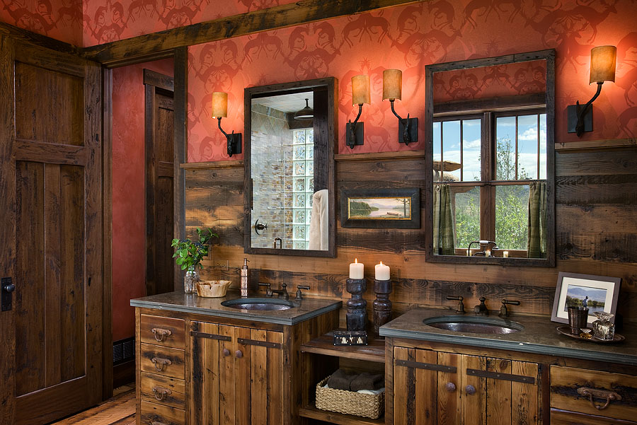 rustic cabinet hardware in master bath