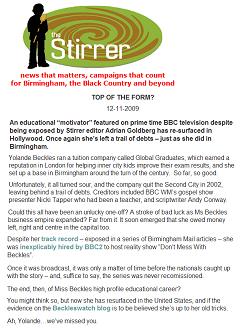 "Yolande Beckles makes headlines in ""The Stirrer"""