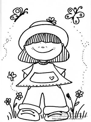 Dibujos para imprimir y colorear – Pinta Dibus: Dibujo de una niña ...