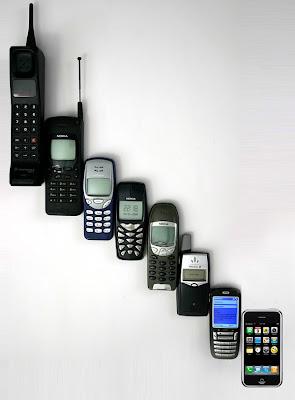 la evolucion de los celulares....lo que es la tecnologia no?