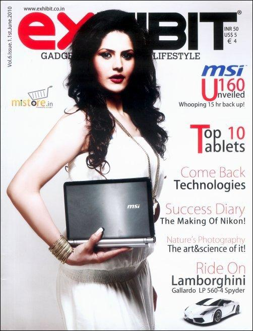 Zarine Khan on the cover of Exhibit Magazine