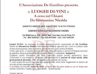 Associazione De Gustibus :: Luoghi Di-Vini si ferma da Giovannino Nieddu, nel Chianti vicino a Firenze :: 8 marzo 2008, ore 19