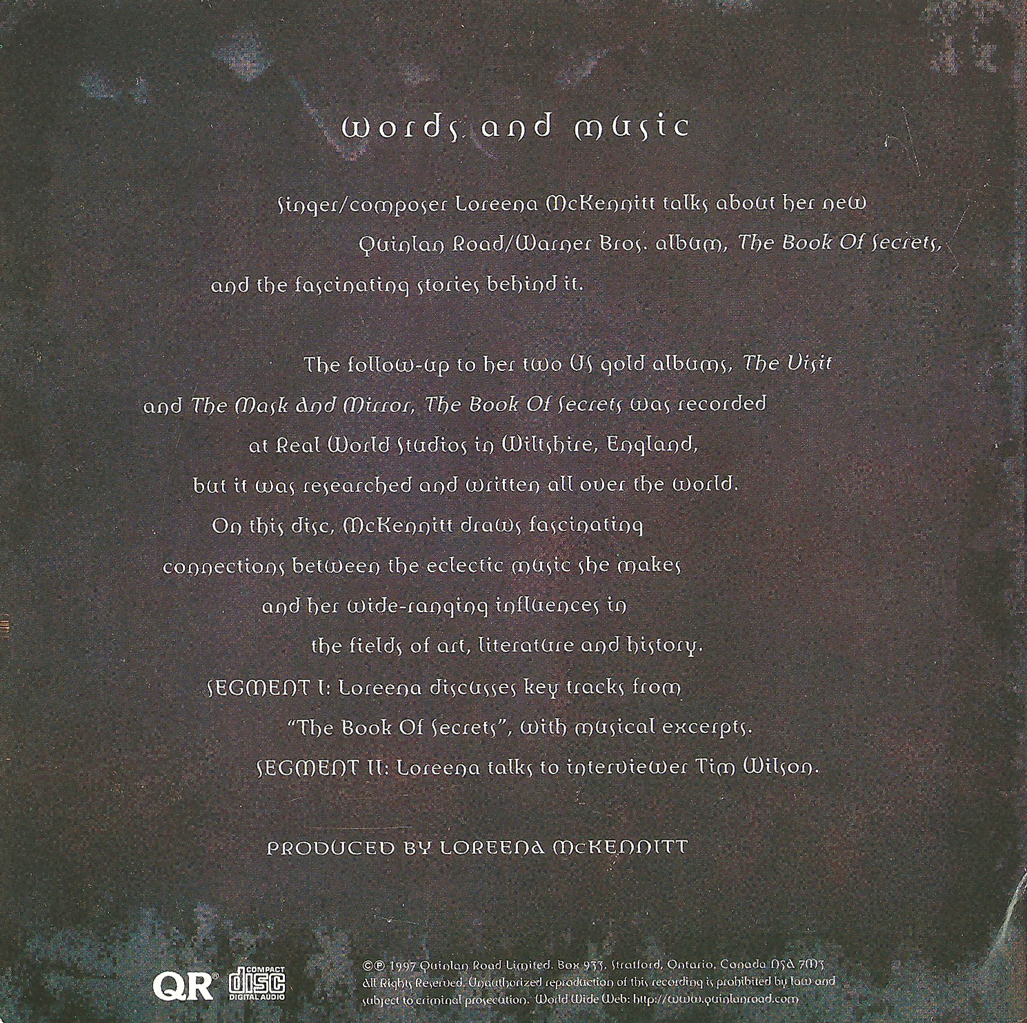 loreena mckennitt collection 1997 words and music the book of