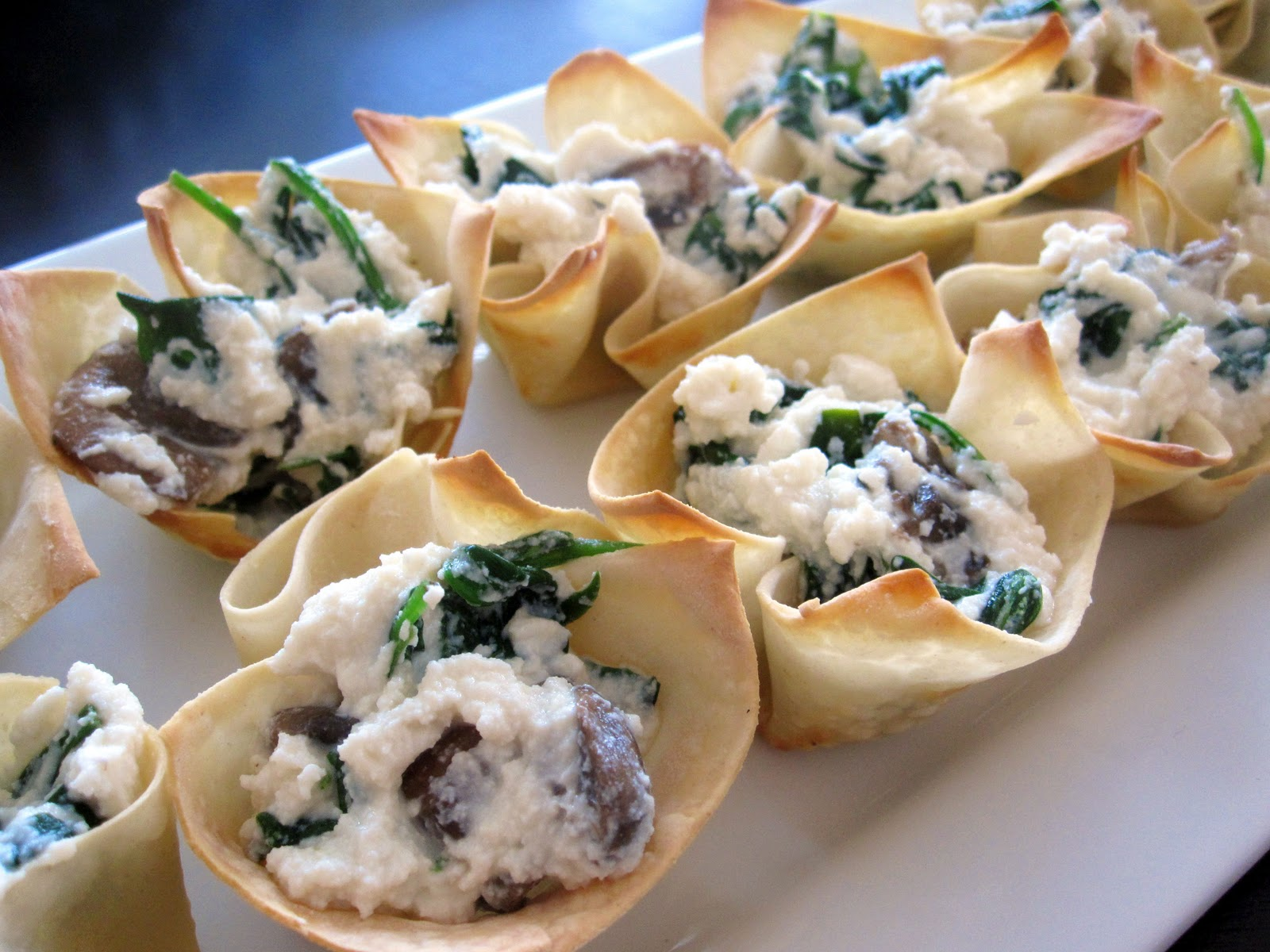 ... the Kitchen: Wonton Cups with Spinach and Mushroom Ricotta Filling