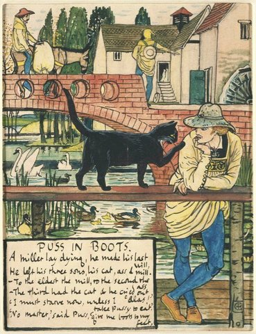 pussinboots wallpaper. Illustration: Walter Crane Illustration from Puss in Boots 1873