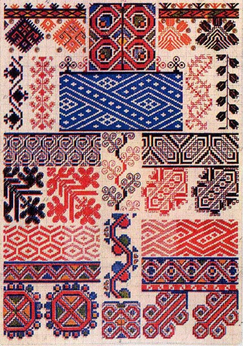 Traditional old time russian cross stitch designs antique booklet in pdf - Beautiful romanian folk motifs ...