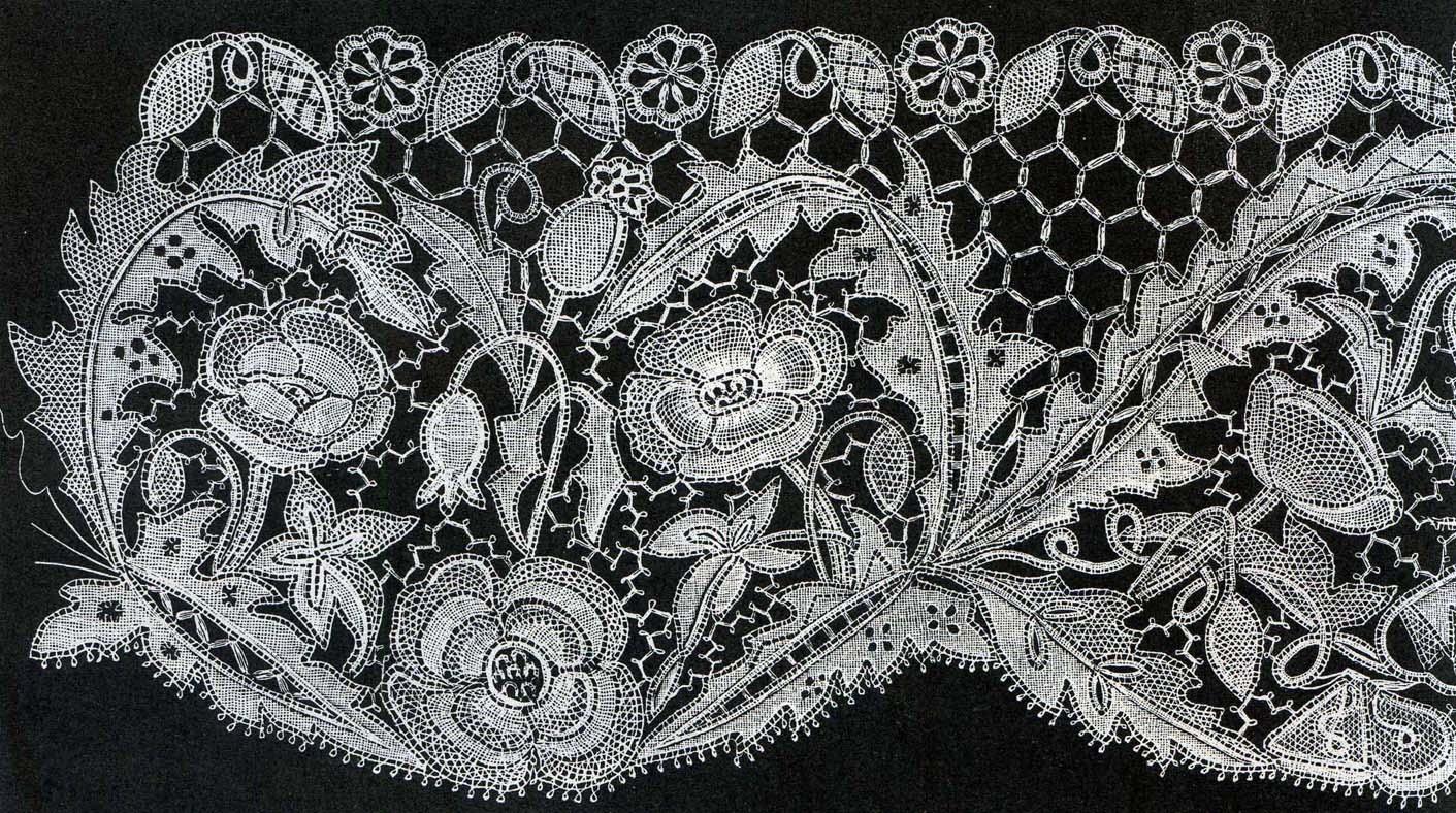 Illustration: Honiton lace poppy and bryony design.