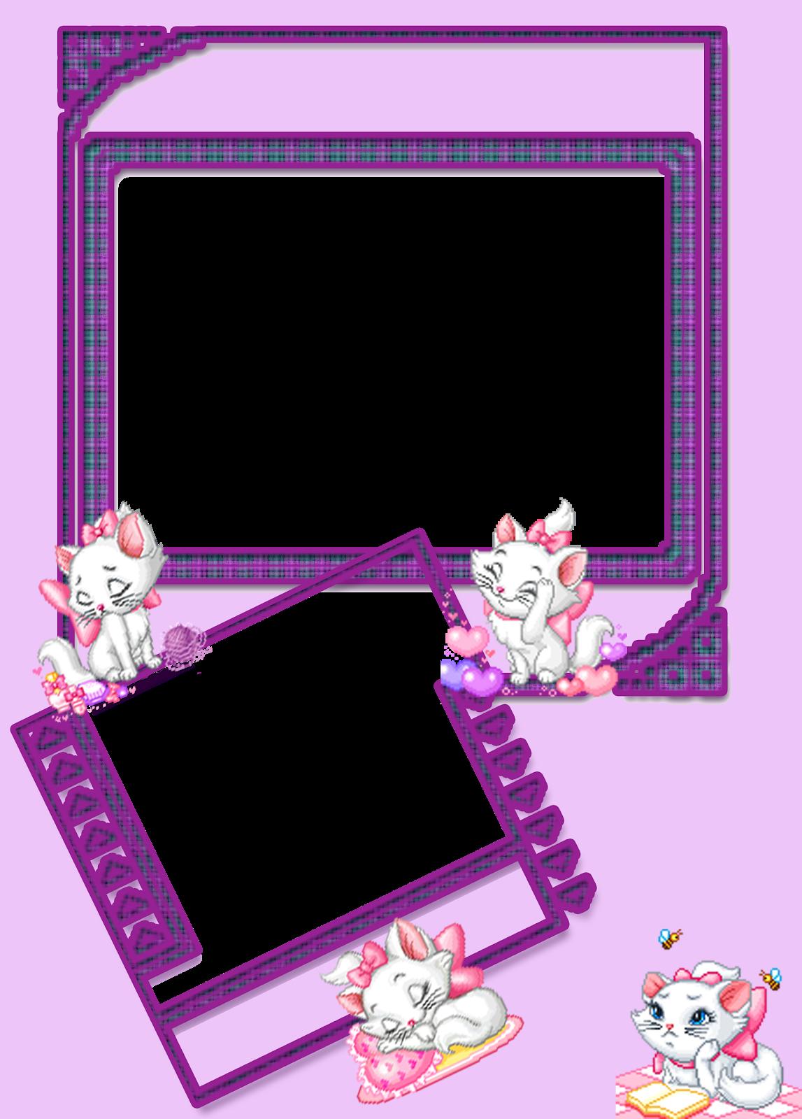Convites e molduras de Hello Kitty, Moranguinho e Mostarda