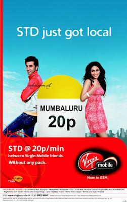Ranbir Kapoor and Genelia D'Souza in Virgin Mobile ad