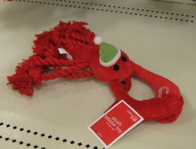 target dog toy. Christmas lobster dog toy.