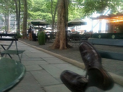 I put my feet up in Bryant Park.